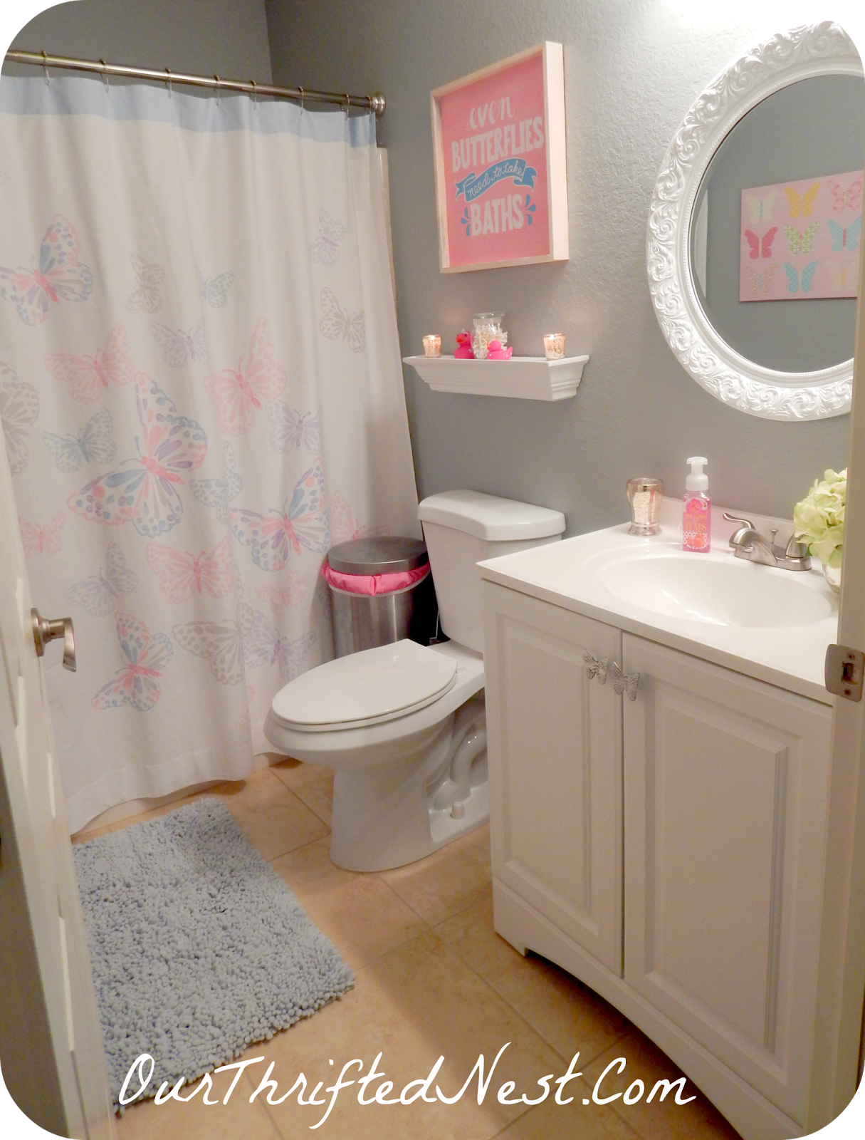 Bathroom decor small little 39 s girl 39 s butterfly pink gray for Girls bathroom ideas