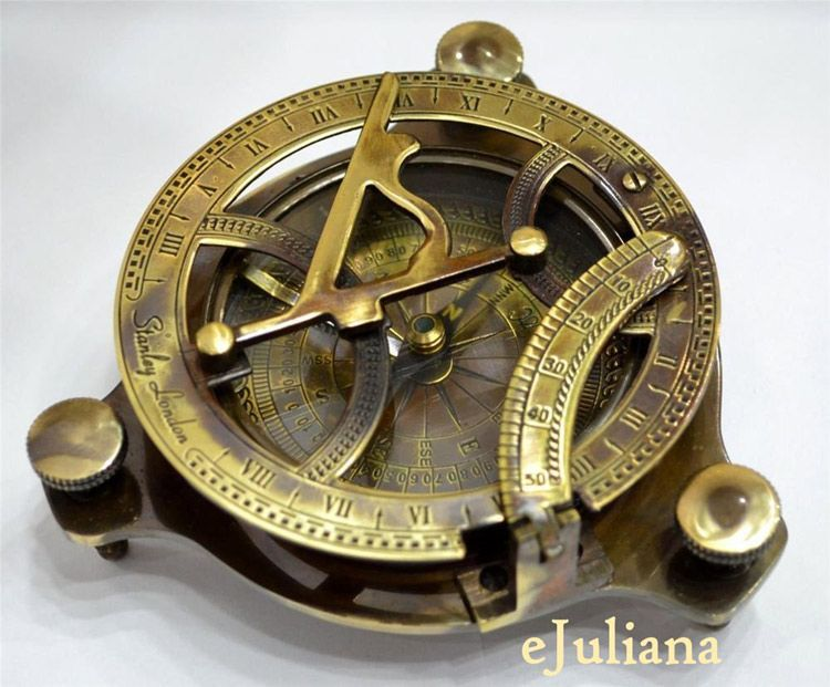 Antique Sundial Brass Compass Navigation Army Wrist Hand Genuine Leather Gifts