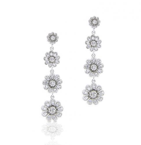 Sterling Silver Dangling Rose Chandelier Earrings  #Fashion, #Jewelry, #JewelryEarrings, #OverstockJeweler