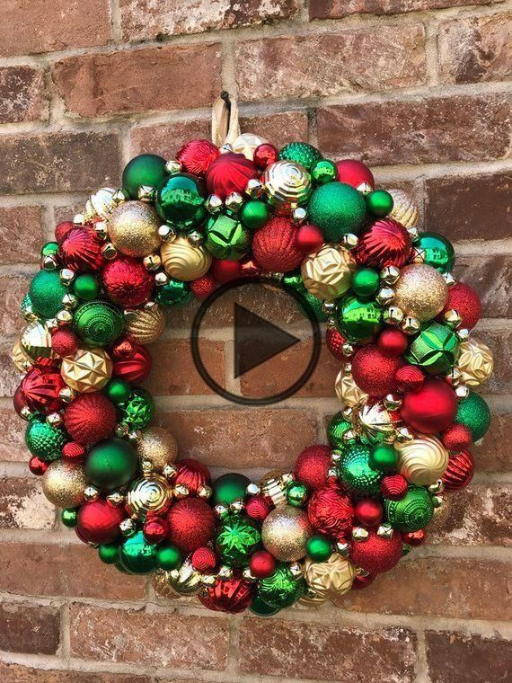 Gorgeous Red, Green, and Gold Ornament Christmas Wreath! Bauble wreath! Holiday Wreath, Traditional