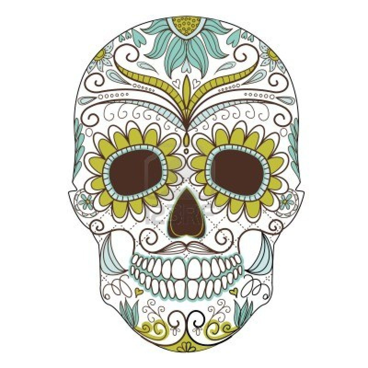 Day of The Dead colorful Skull with floral ornament  art