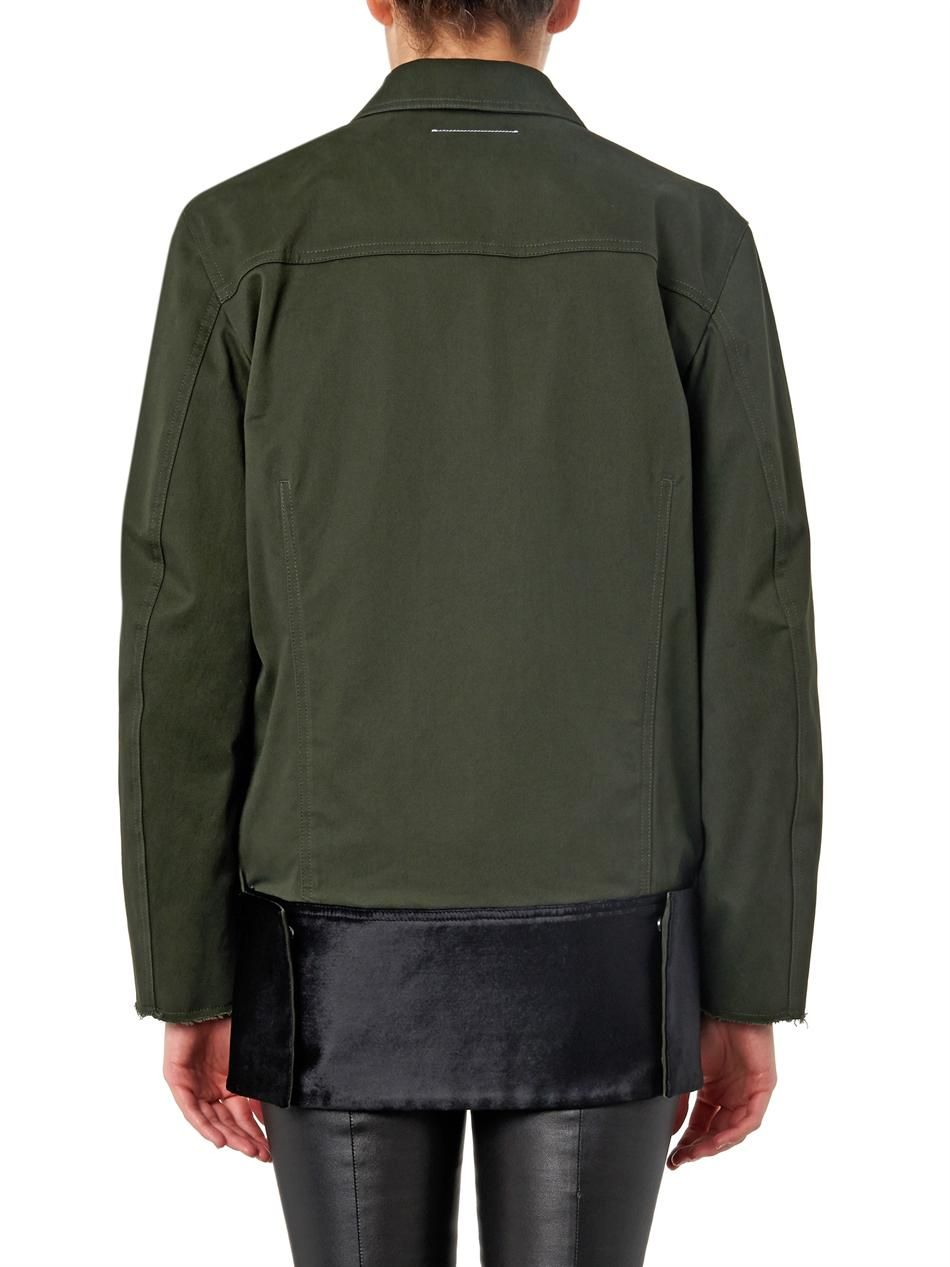Maison Martin Margiela Mm6 Velvet-trimmed cotton jacket