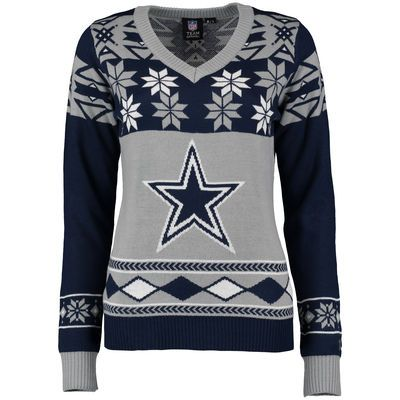 best sneakers cb461 33cad Dallas Cowboys Klew Women's Big Logo V-Neck Ugly Sweater ...