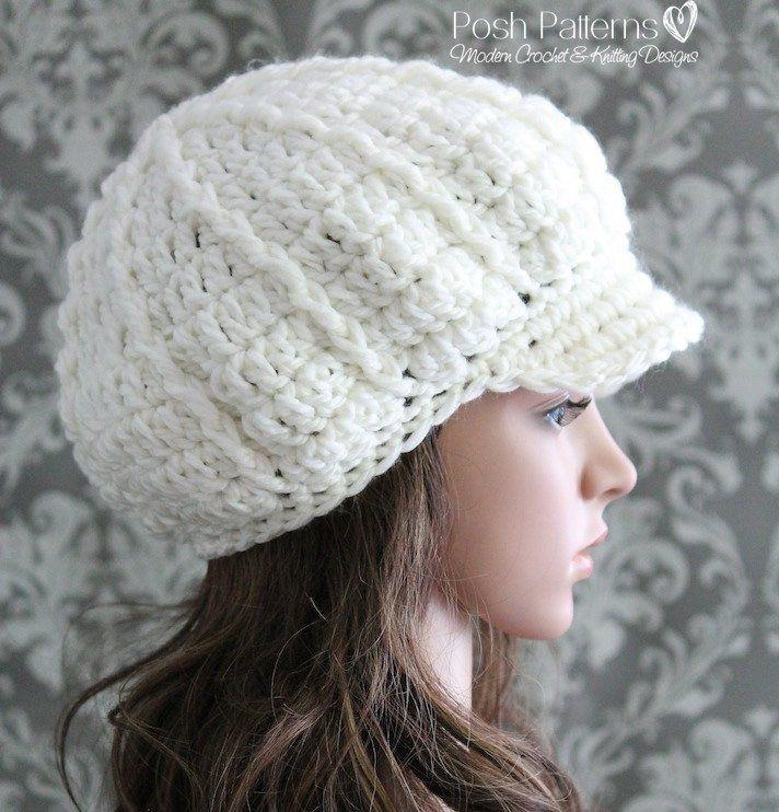 Crochet PATTERN - Crochet Slouchy Newsboy Hat Pattern - Apple Cap ...