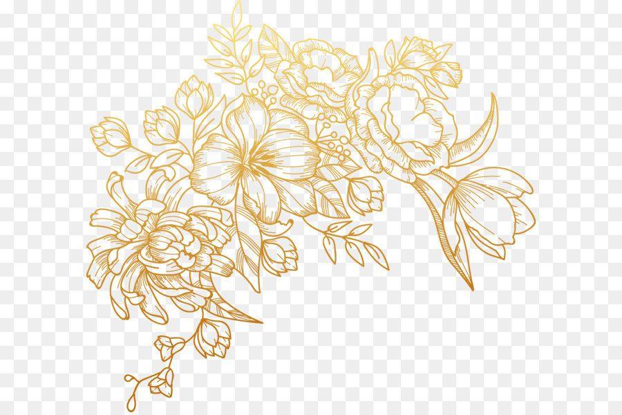 Euclidean Vector Flower Vector Painted Golden Flowers Kreatif Undangan Pernikahan Bingkai Foto