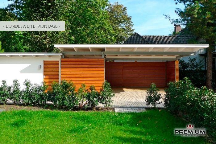 "meincarport.de Carports ""Bauhaus/Stahl"" Haus außen"