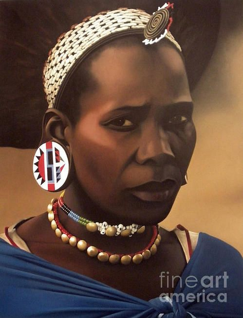 Africa | Zulu Maiden | © Painting by South African born Edgar Pretorius