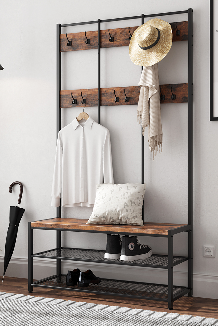 VASAGLE Garderobenständer mit Schuhablage 184 x 100 x 40 cm | Kleiderständer mit #vintage