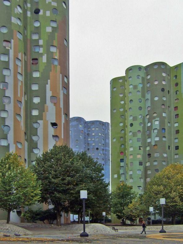 Tours Nuages (or Tours Aillaud) in Nanterre, close to La Défense in Paris. Social housing built in 1977