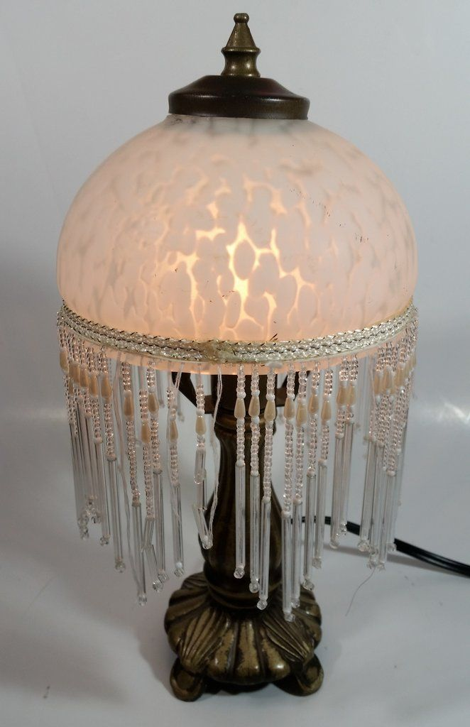 Frosted Glass Beaded Shade 12 Frosted Glass Lamp Table Lamp