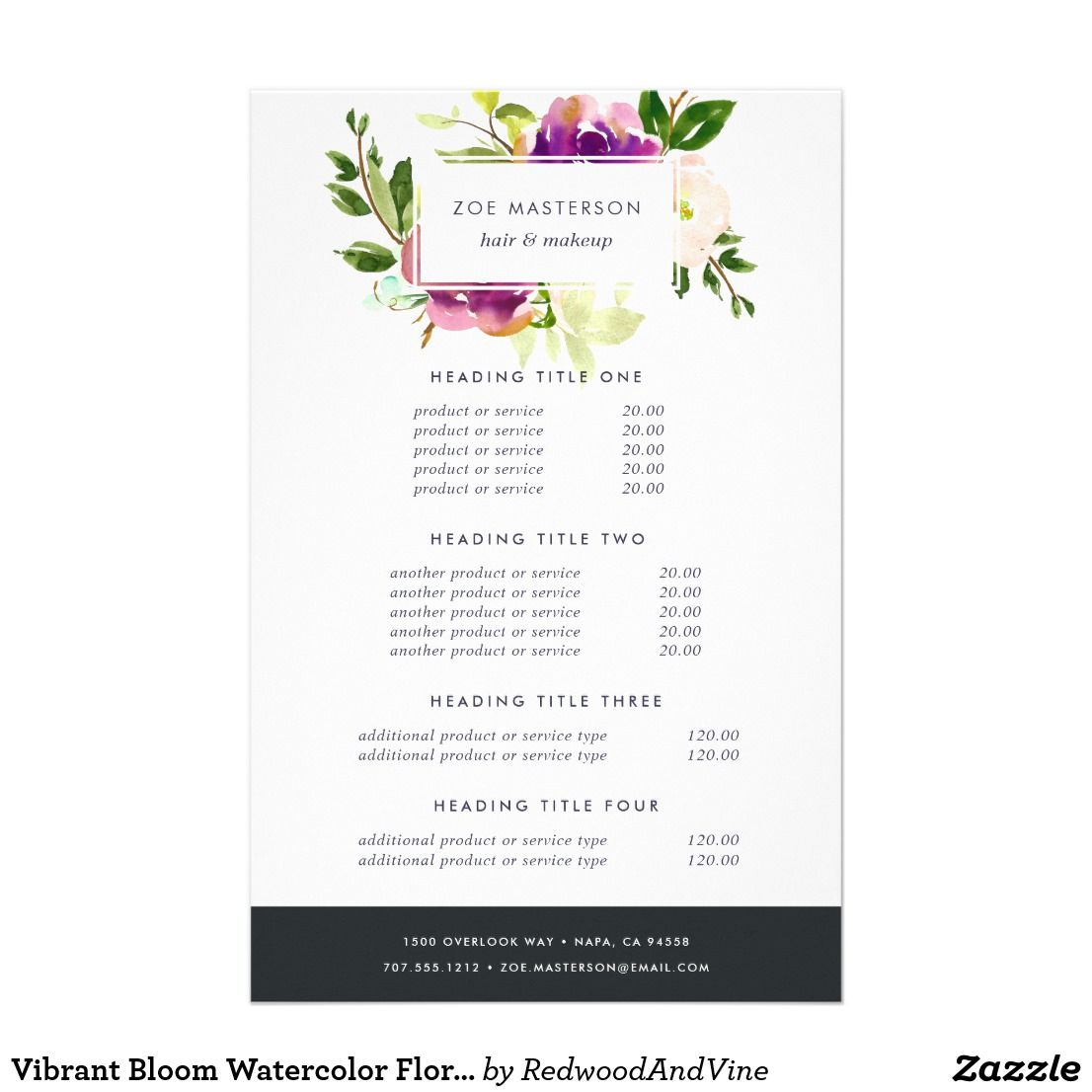 Vibrant Bloom Watercolor Floral Pricing Amp Services Flyer