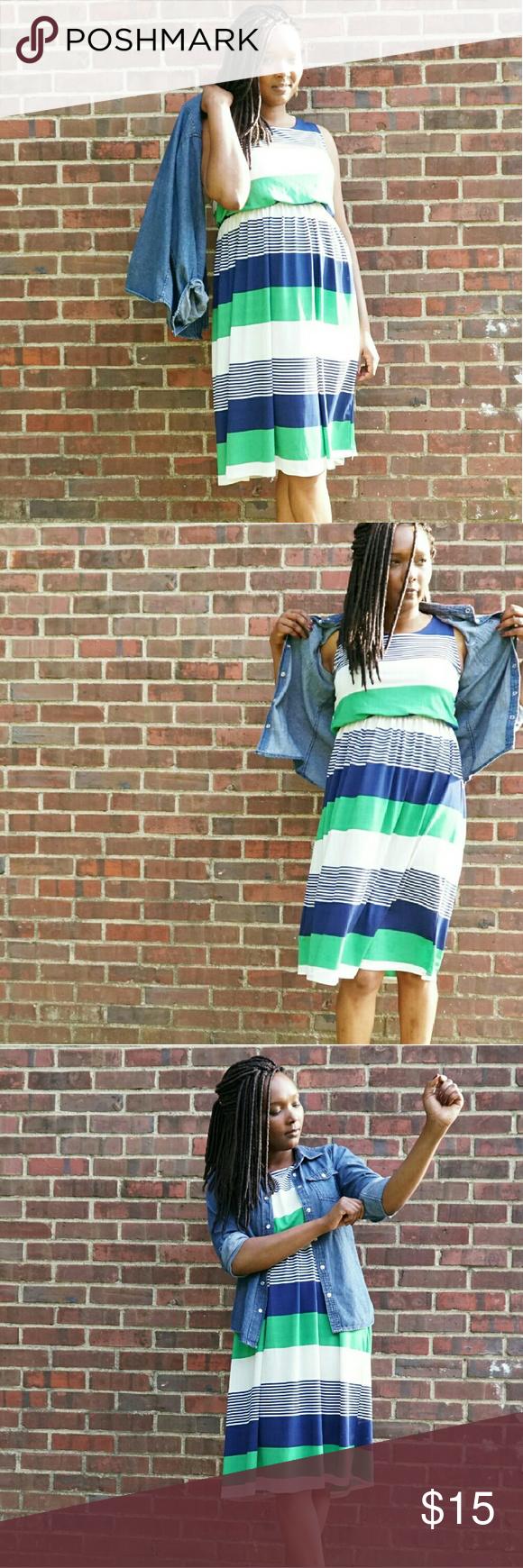 Stripe Dress Bold cool stripes pattern sleeveless dress ?? SOME STAINS HARDLY VISIBLE Dresses Midi