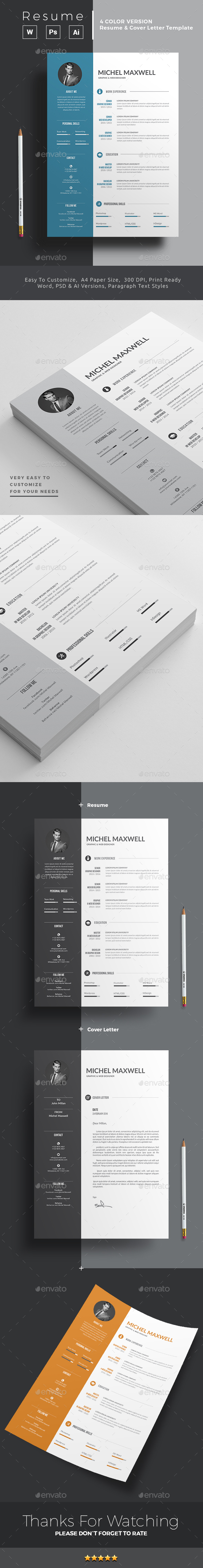 professional resume   cv template is made in adobe photoshop  u0026 illustrator format and then it was