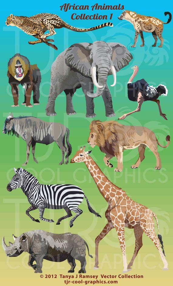 African Animals Clipart Svg Clipart Png Elephant Clipart Ostrich Cheetah Lion Giraffe Mandrill Wildebeest Zebra African Animals Animal Posters Animal Clipart