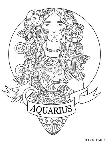 Aquarius Zodiac Sign Coloring Page For Adults Fotolia 127815403 Coloring Books Coloring Pages Zodiac Signs Colors