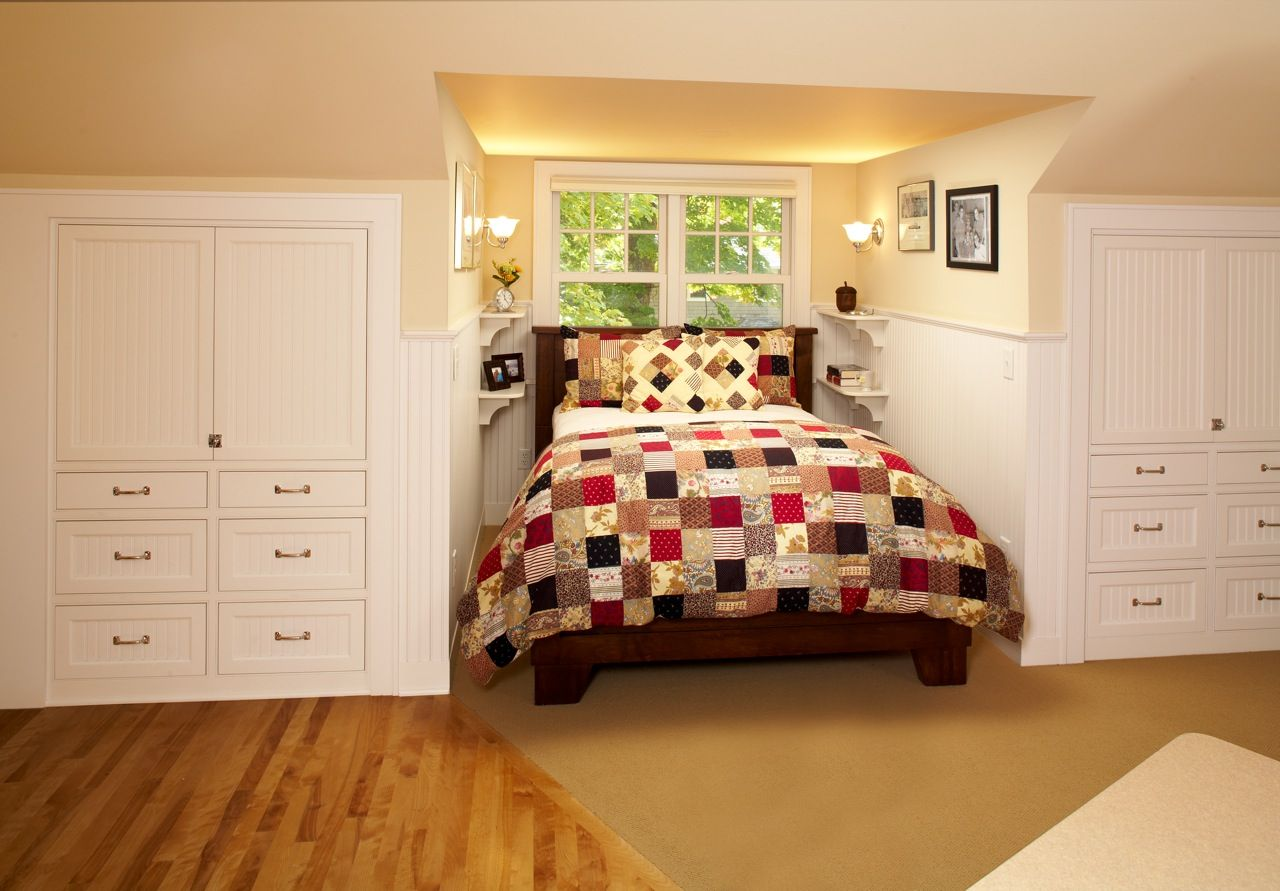 An existing dormer was the perfect size for a bed nook for Dormer bedroom designs