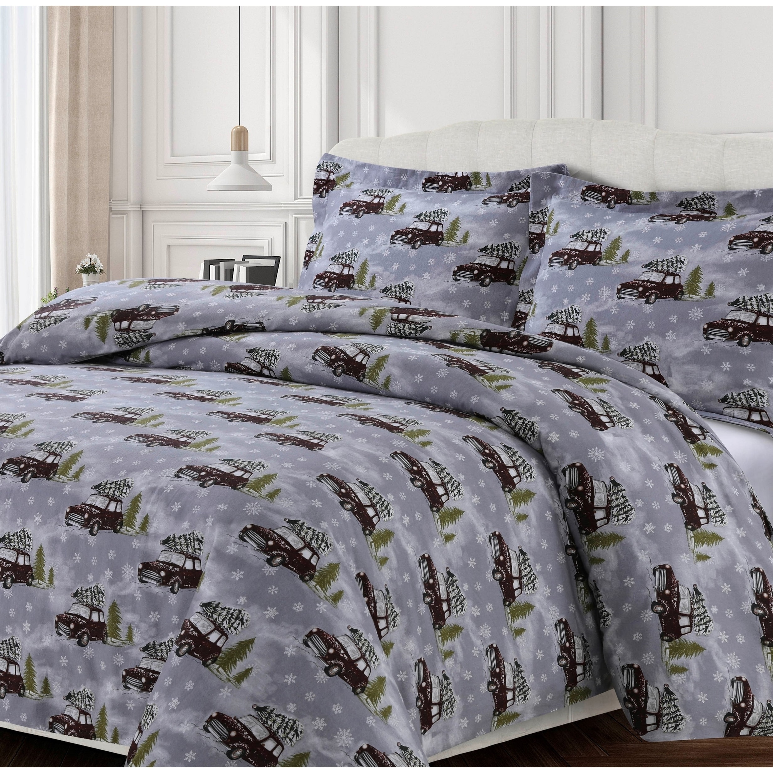 Winter Outing 170 Gsm Cotton Flannel Printed Oversized Duvet Set