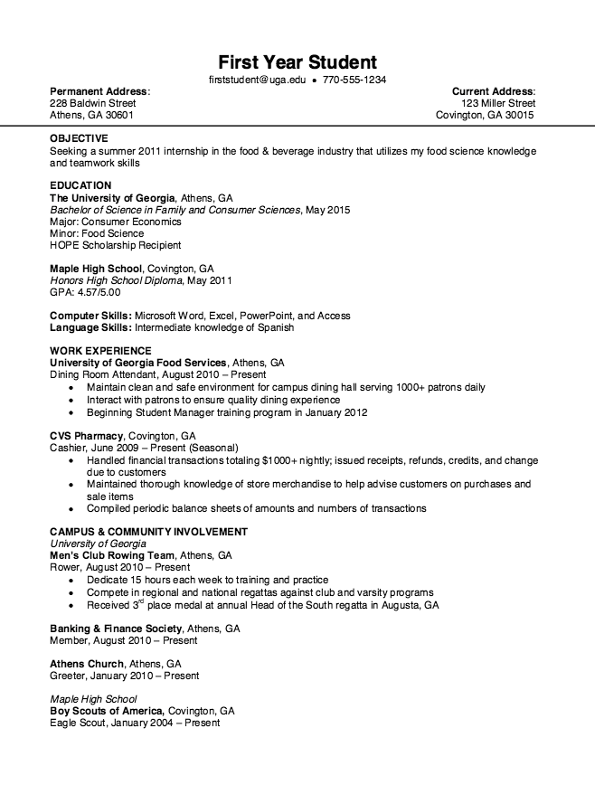 Free Examples Of Resumes Examples Resumes Uga Optimal Resume  Httpresumesdesign