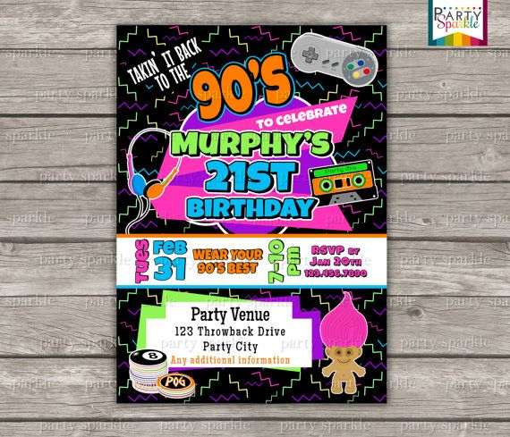 Takin It Back To The 90s Retro Birthday Invite Personalized