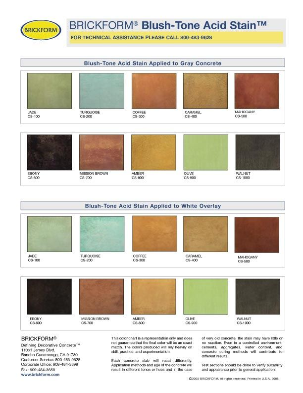 Reactive Stain Color Chart PAITING, STAINING,WHITE WASHING - sample rgb color chart