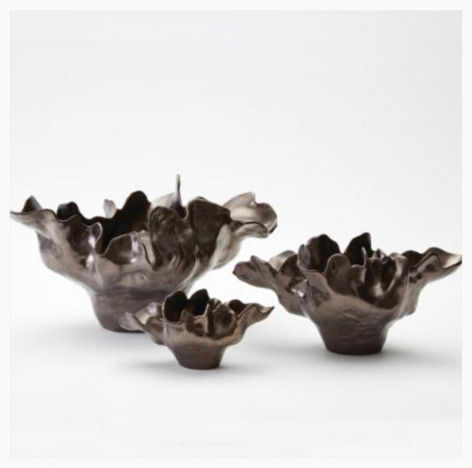 Meteor Bowl Organic Design Ceramic Bowl Bronze Finish Comes In Medium 22 L X 12 W X 10 5 H And Large 29 L X 20 W X 14 Decorative Bowls Global Views Bowl