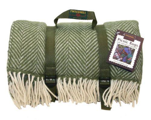 Olive Green Herringbone Polo Picnic Rug By Tweedmill