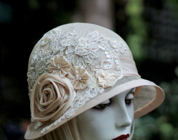 Summer Cloche Hat for Wedding Special Occasion in Sinmamay Ivory ... 635c494136f