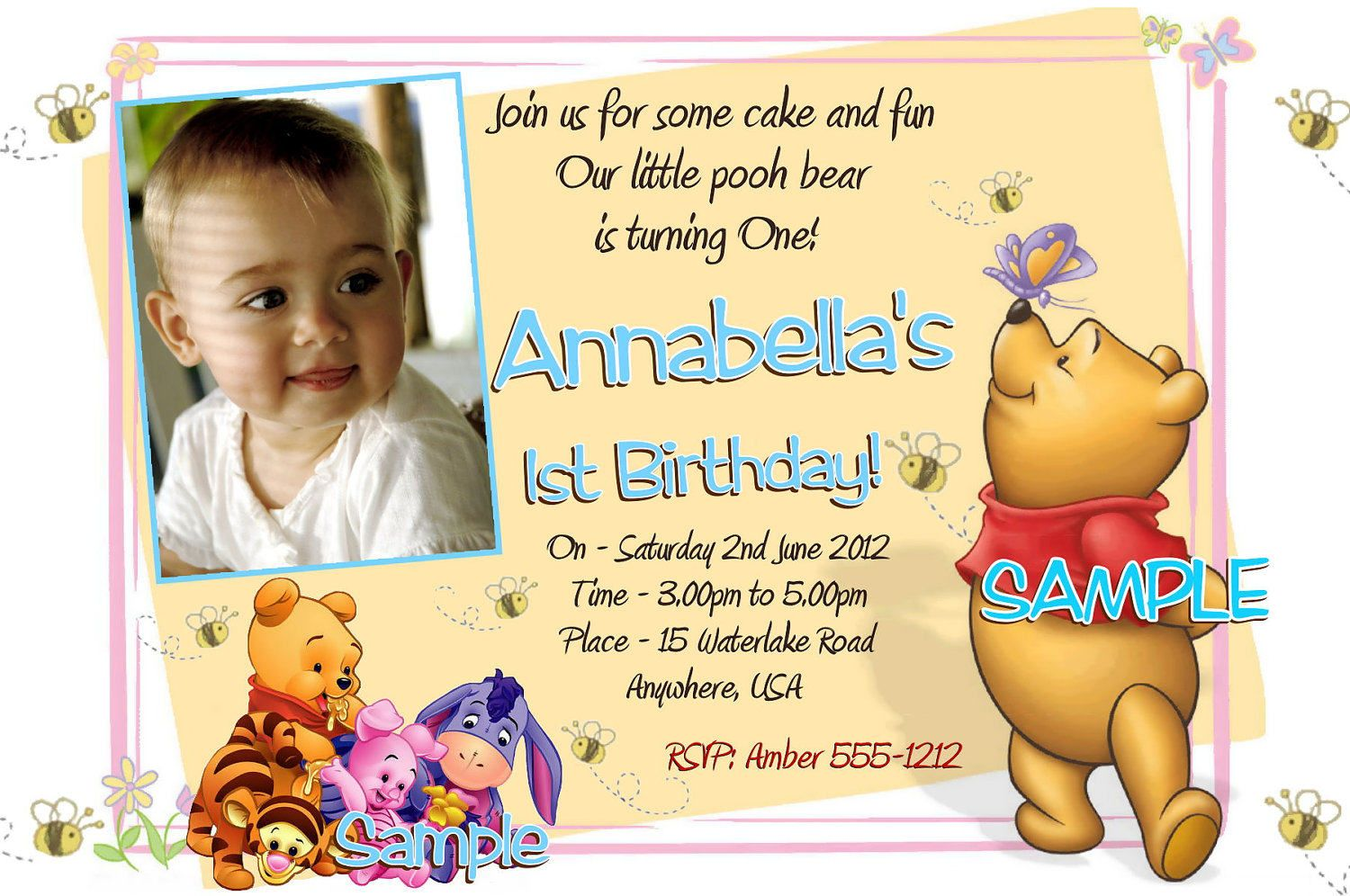 winnie the pooh birthday invitation templates free - Google Search