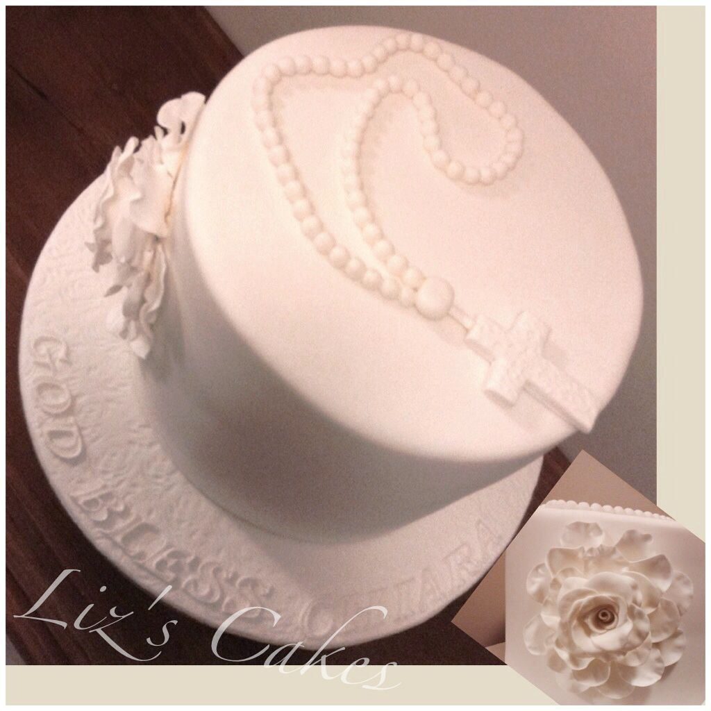 First Communion cake with rosary beads and cascading rose ...