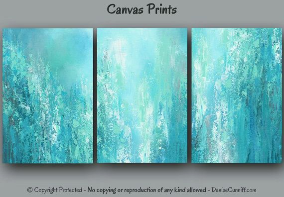 Large Multi Panel 3 Piece Teal Wall Art Canvas Abstract Print Etsy Teal Wall Art Large Abstract Wall Art Large Canvas Art