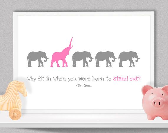 Elephant Nursery Wall Art Decor Quotes Picture Keepsake Gift A3