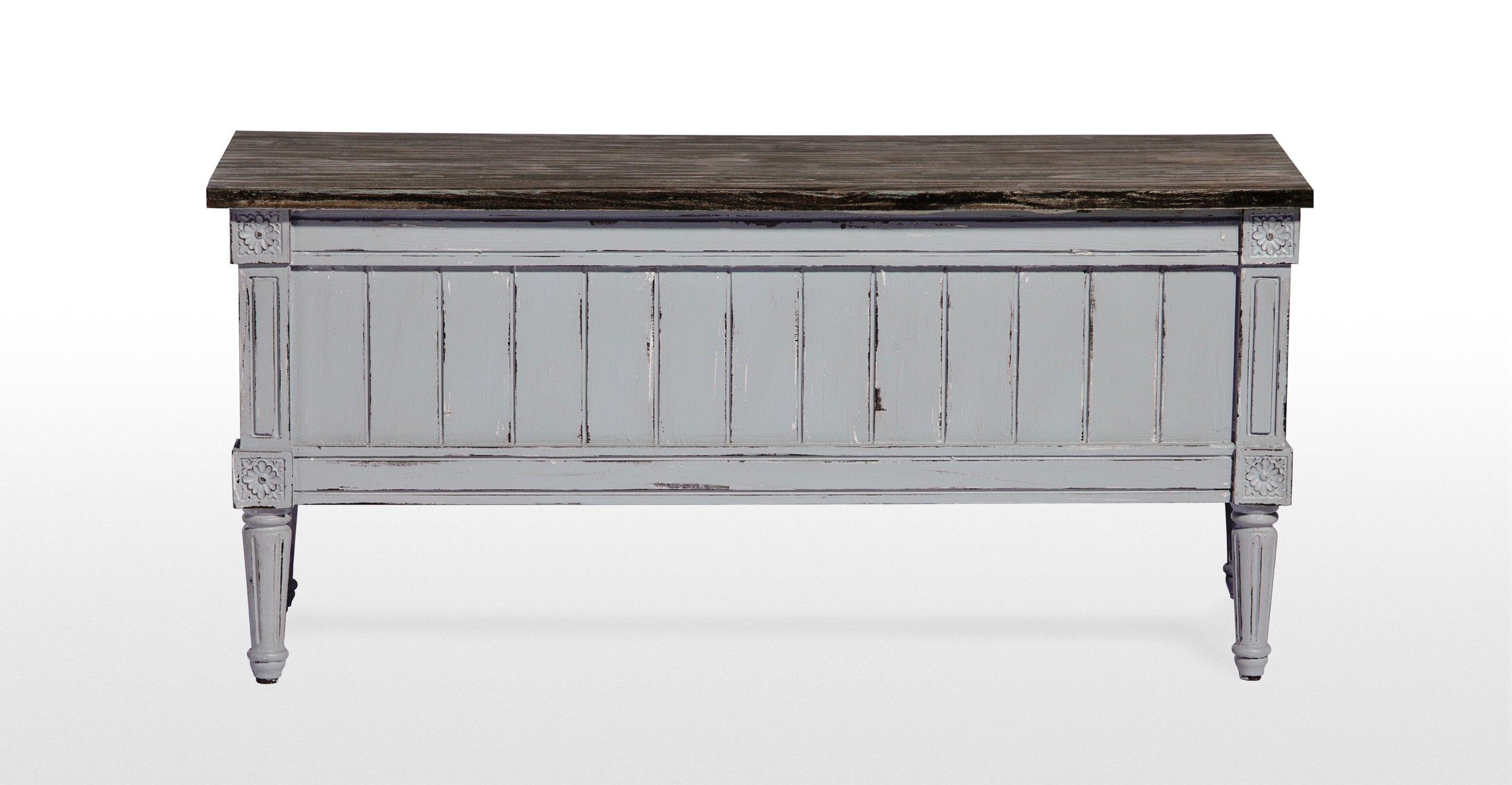 Bourbon Distressed Grey Vintage Storage Bench