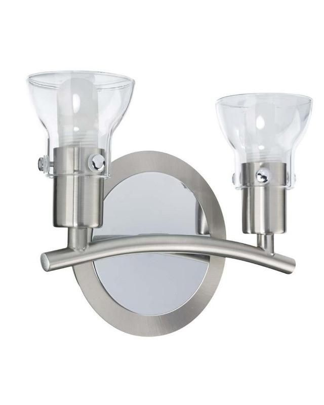 Globe Lighting Two Light Bath Wall In Brushed Steel And - Bathroom lighting chrome finish