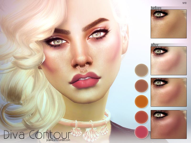 Highlighting contour in 5 colors, for all ages and genders.  Found in TSR Category 'Sims 4 Female Blush'
