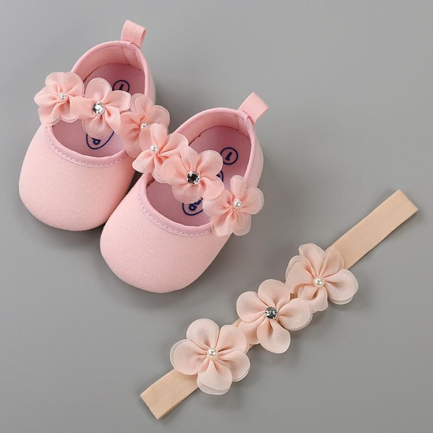 Toddler Baby Hairband Girls Shoe Casual Shoes Sneaker Anti-slip Soft Sole Shoes