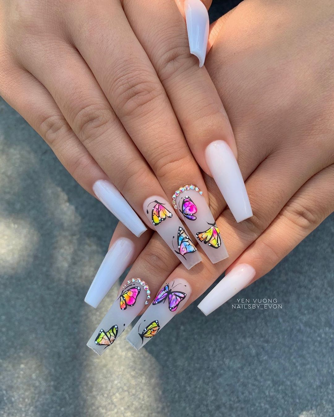 Evon Yen Vuong On Instagram Do You Like These Hand Drawn Butterflies Cutie Clients Brought Phot Long Acrylic Nails Coffin Nails Designs Best Acrylic Nails