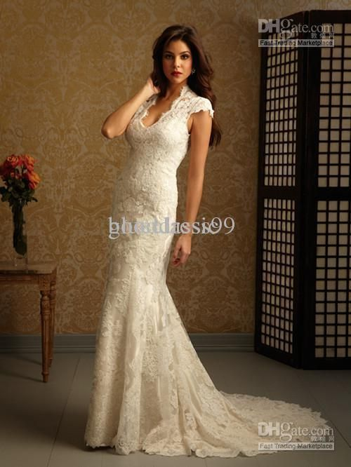 New Sexy Close fitting short sleeve Lace wedding dresses bridesmaid bridal dress Formal Gown Custom