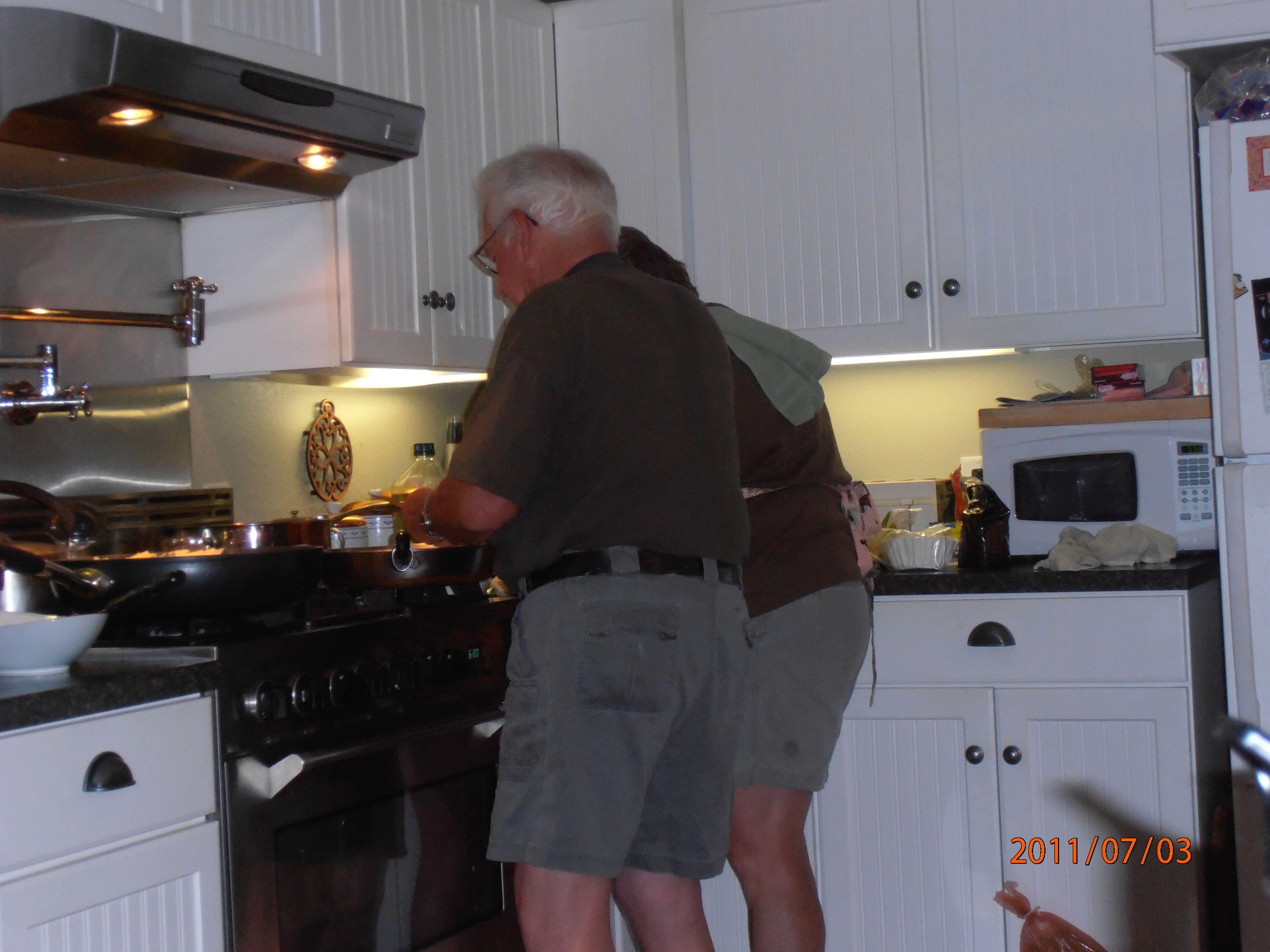 Dad & Elsie Cooking