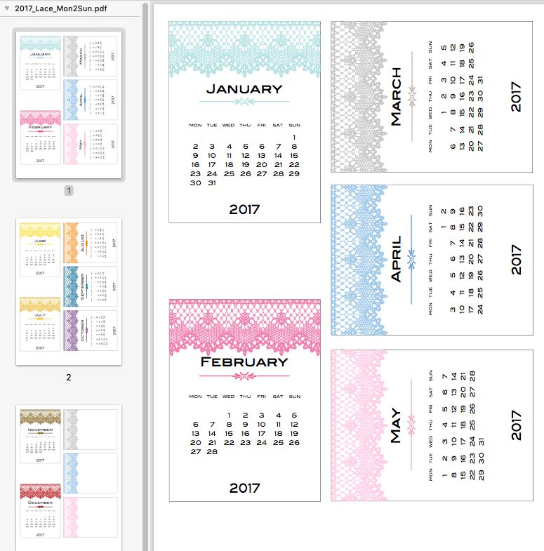 For the Monday to Sunday folk \u2013 2017 lace calendar (and Spanish