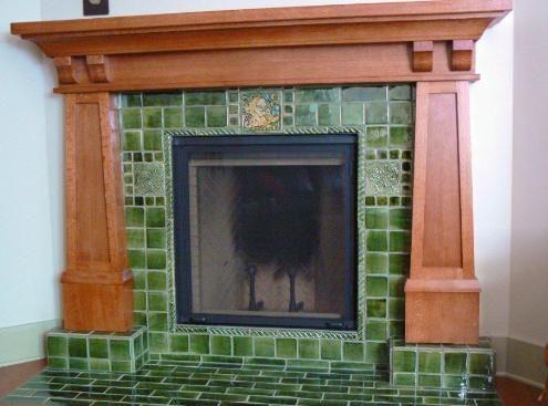Arts crafts bungalow fireplace verdant tile for Arts and crafts fireplace tile