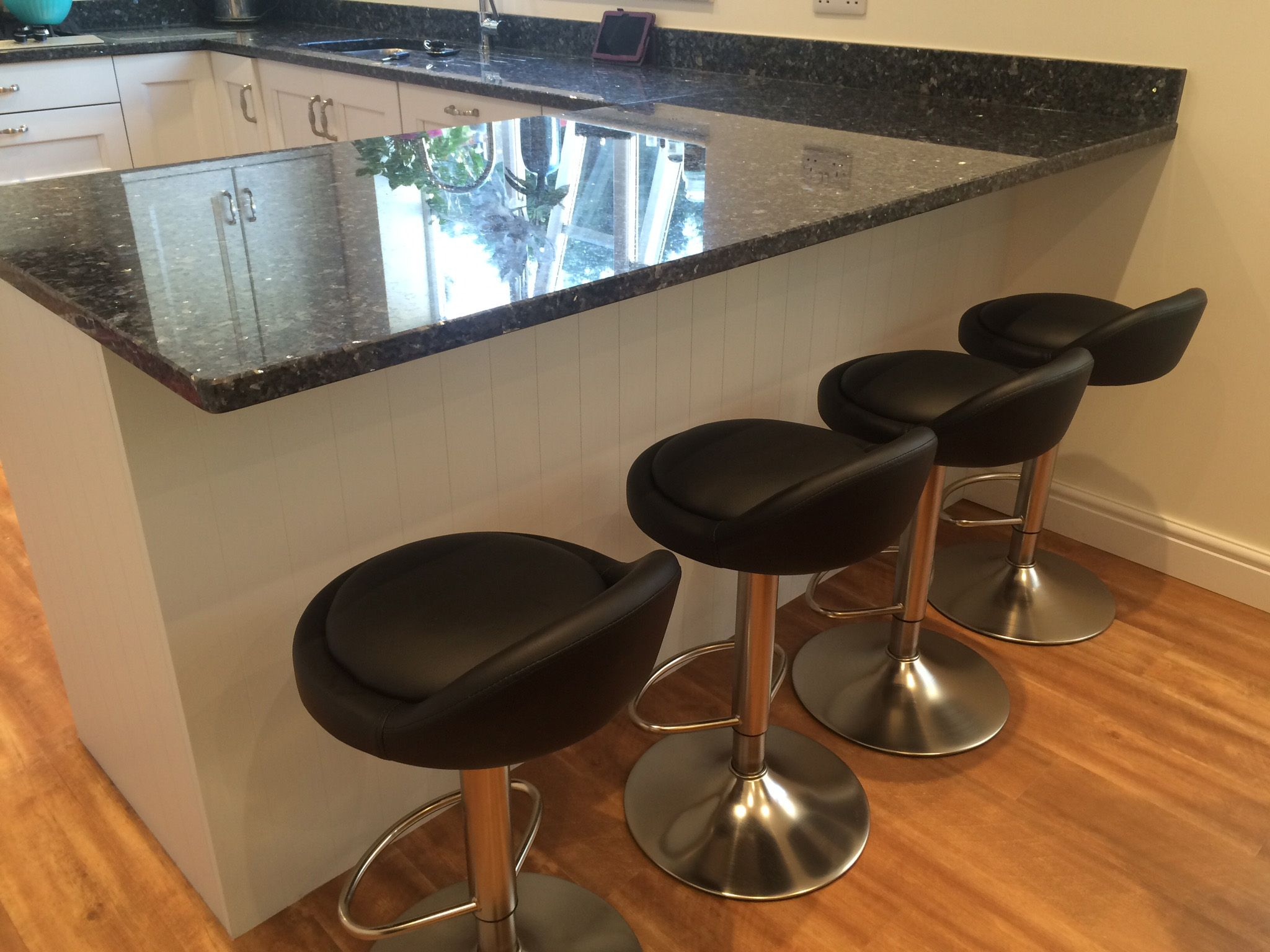 The Sofia Brushed Chrome Bar Stool Black Looks Great At