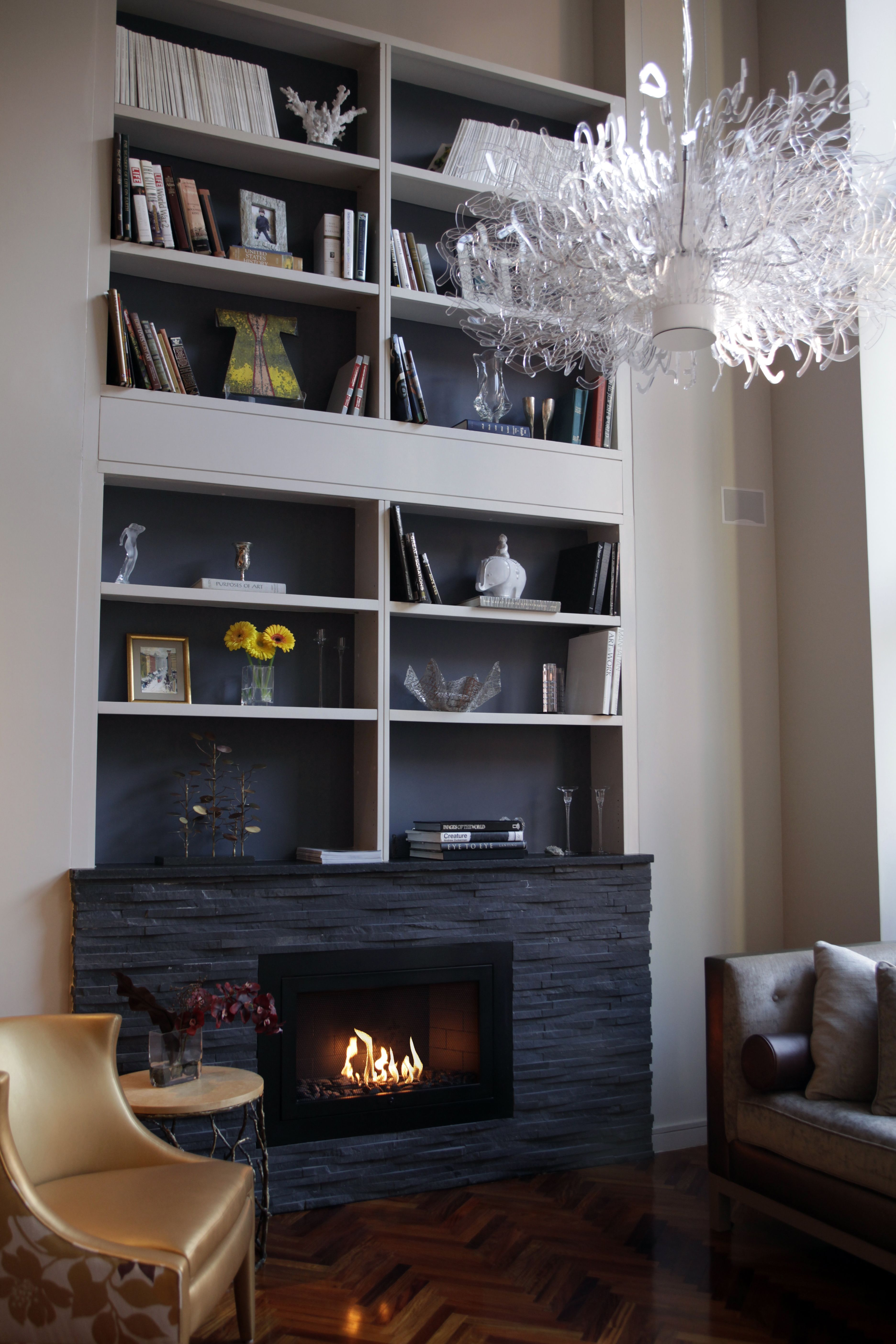 Linear Modern Black Hearth Cabinet Ventless Fireplace Private