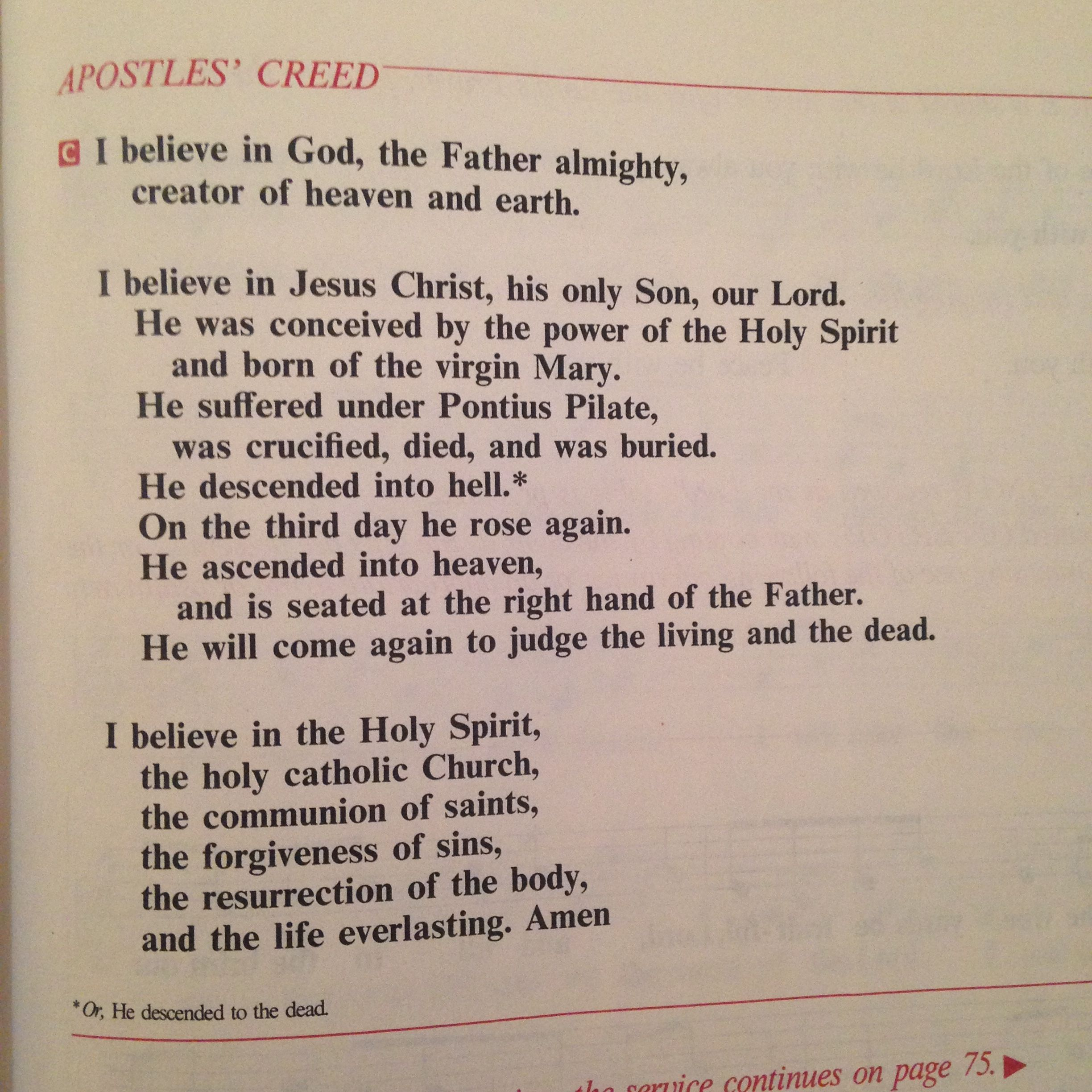 Apostles Creed From The Lutheran Hymnal I Used Growing Up
