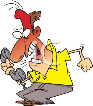 Iclipart Com Royalty Free Clipart Image Of An Angry Man On The Phone Idiom Examples Cartoon People Idioms