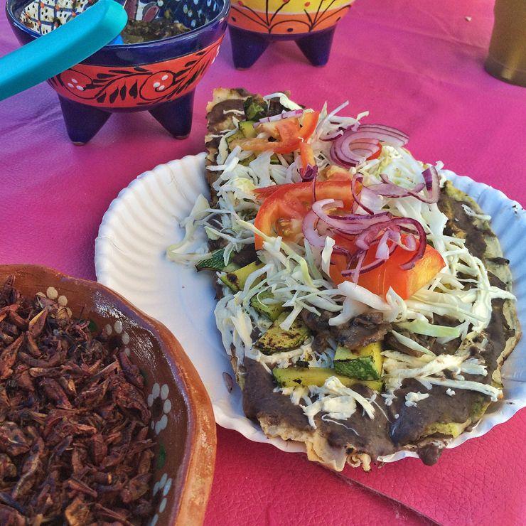 especialidade de Oaxaca, Tlayuda: massa de milho grande e mais seca e fina e crocante que a tortilla. Com frijoles, abobrinha, repolho, tomate, queijo de Oaxaca, cebola e, se quiser, grilos (chapullin)