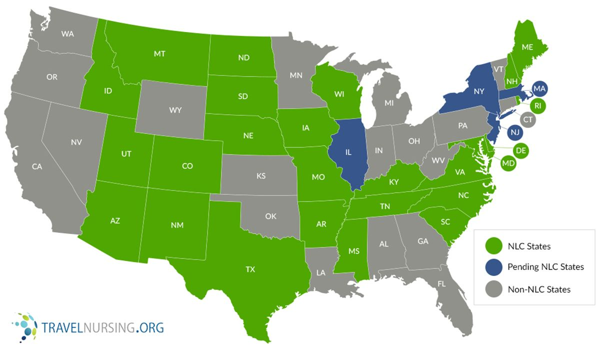 Nursing Compact States Map Nursing Compact States Map and Chart (With images) | Nursing