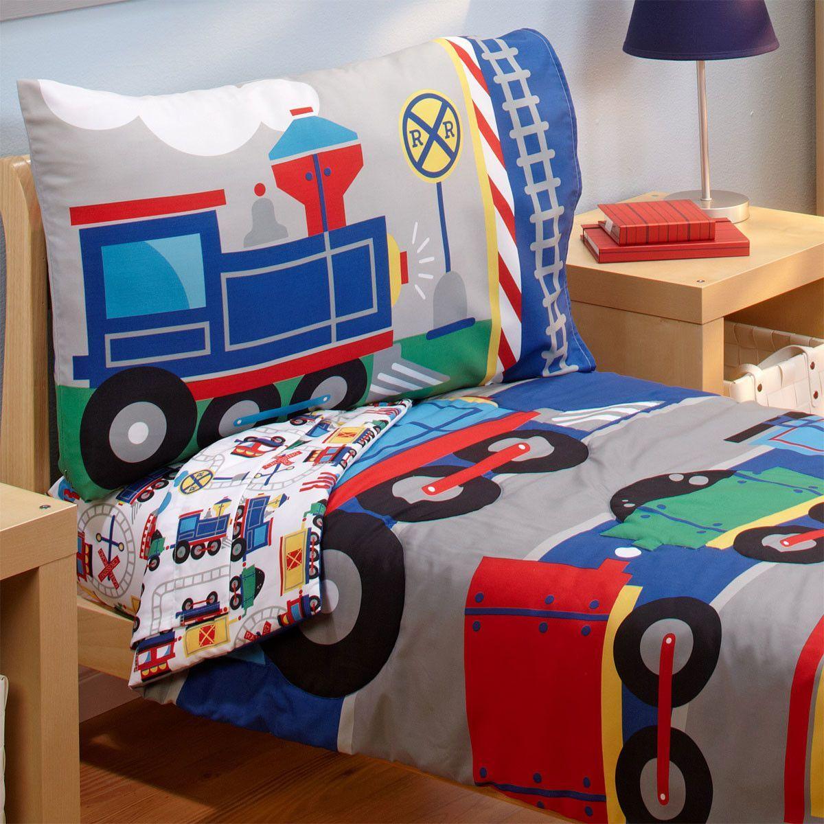 Choo Choo Trains Bed Ensemble 4 Piece Toddler Bedding Set