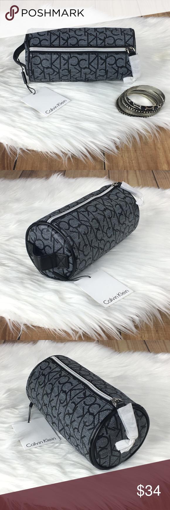 CALVIN KLEIN Signature Black/Gray Cosmetic Bag NWT