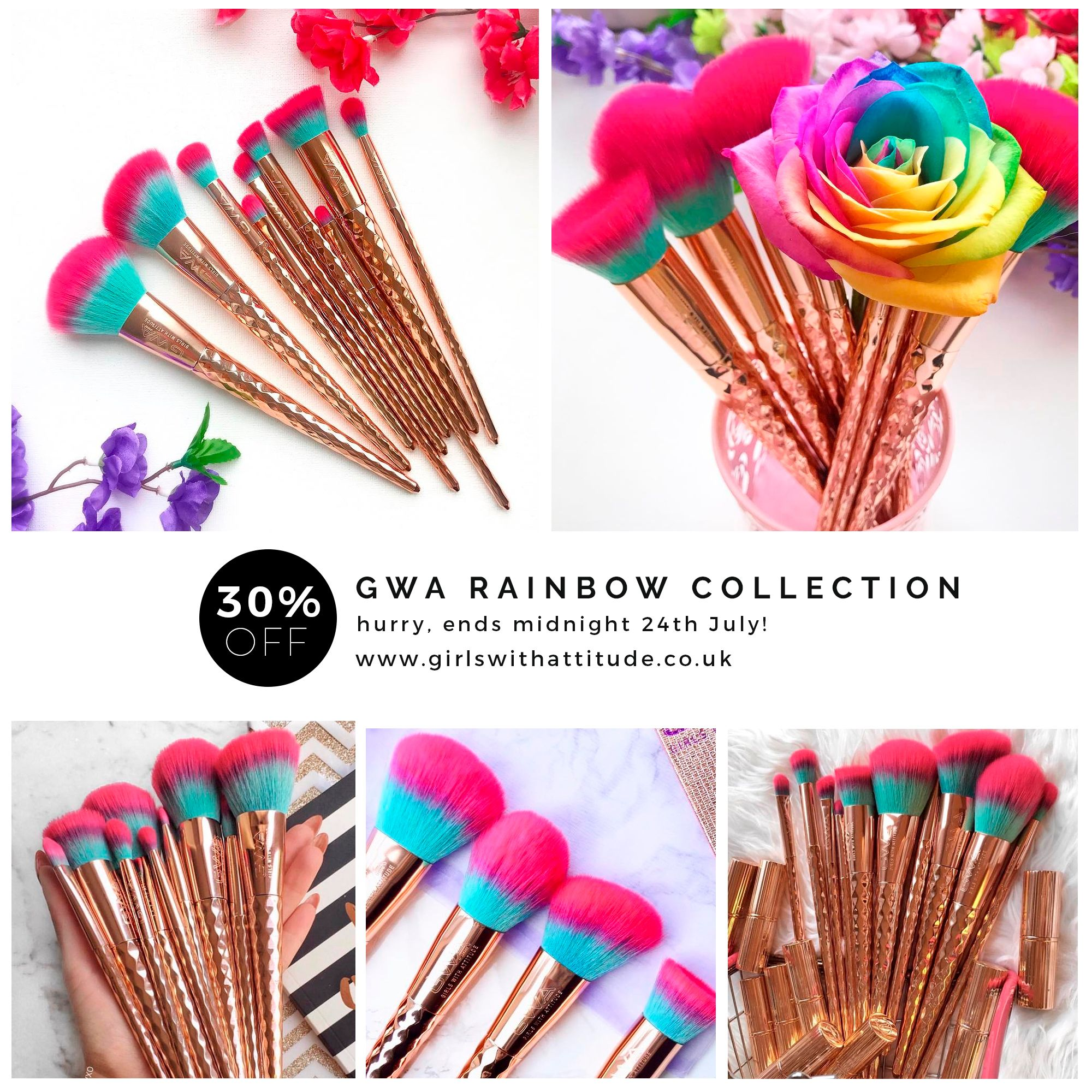 The Rainbow Collection 10pcs Makeup Brush Set in 2020
