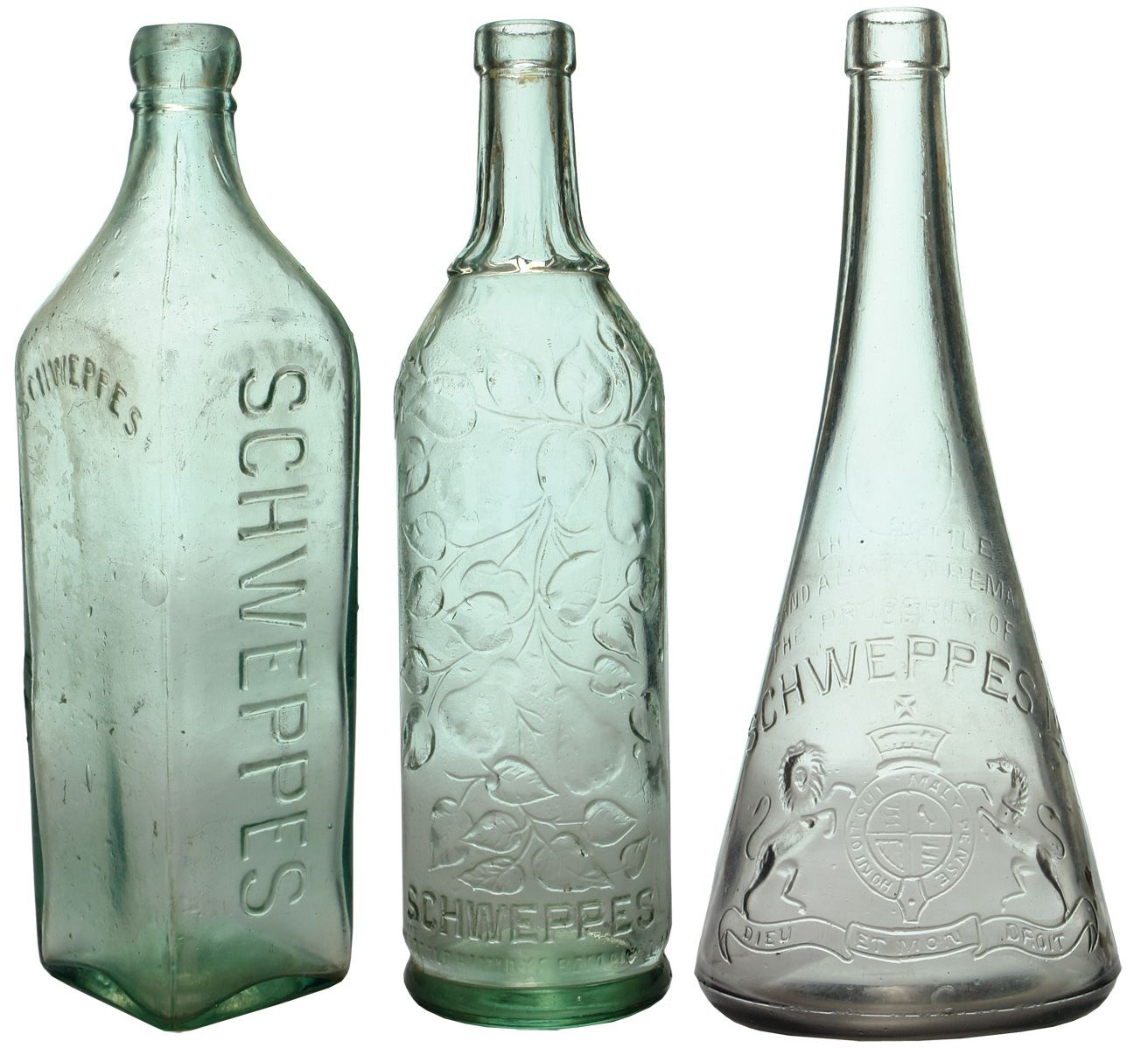 Glass Water Bottle Australia Group Of 3 Different Australian Found Made Schweppes